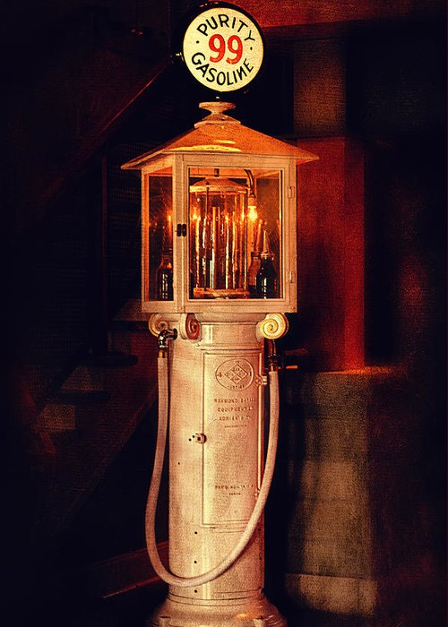 Gasoline Greeting Card featuring the photograph Antique Gasoline Pump by Maria Angelica Maira