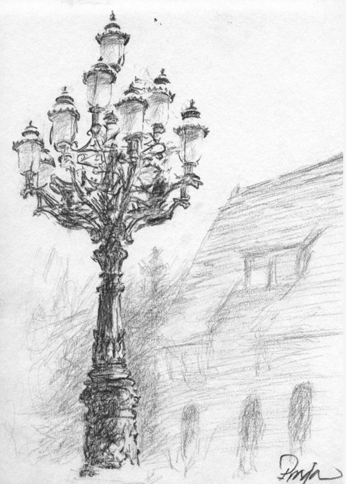 Charcoal Greeting Card featuring the drawing Antique Lampost by Horacio Prada