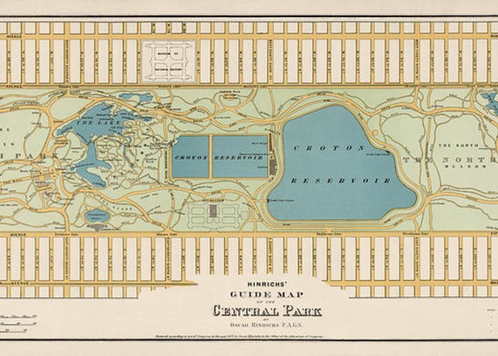 Antique Map Of Central Park New York City By Oscar Hinrichs - 1875 on