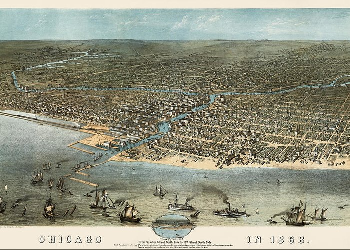 Chicago Greeting Card featuring the drawing Antique Map Of Chicago Illinois By A. Ruger - 1868 by Blue Monocle