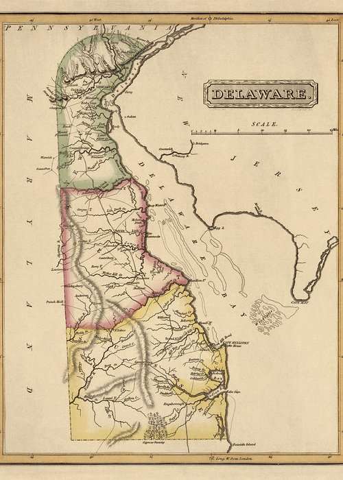 Delaware Greeting Card featuring the drawing Antique Map Of Delaware By Fielding Lucas - Circa 1817 by Blue Monocle