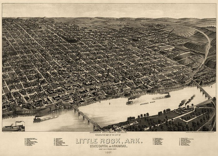 Little Rock Greeting Card featuring the drawing Antique Map Of Little Rock Arkansas By H. Wellge - 1887 by Blue Monocle