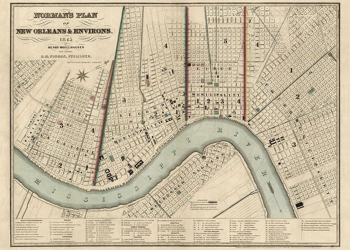 Antique New Orleans Map.Antique Map Of New Orleans By Balduin Mollhausen 1845 Greeting Card