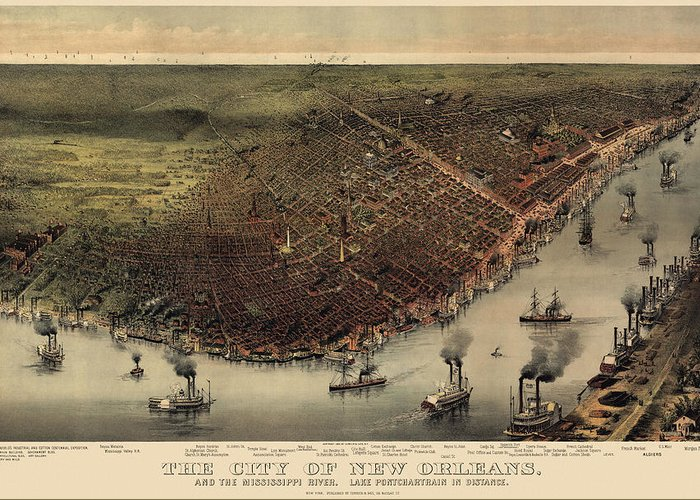 New Orleans Greeting Card featuring the drawing Antique Map Of New Orleans By Currier And Ives - Circa 1885 by Blue Monocle