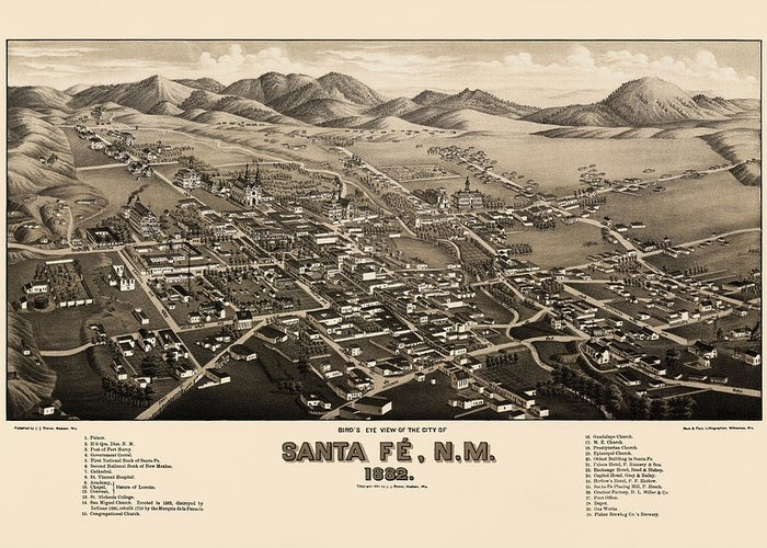 Santa Fe Drawings Greeting Cards