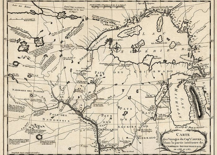 Upper Midwest Greeting Card featuring the drawing Antique Map Of The Upper Midwest Us And Great Lakes By Benard - Circa 1768 by Blue Monocle