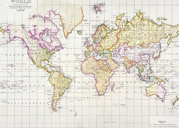 World Map Greeting Card featuring the painting Antique Map Of The World by James The Elder Wyld
