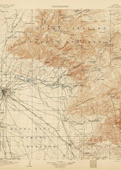 Antique Map Of Tucson Arizona - Usgs Topographic Map - 1905 Greeting ...