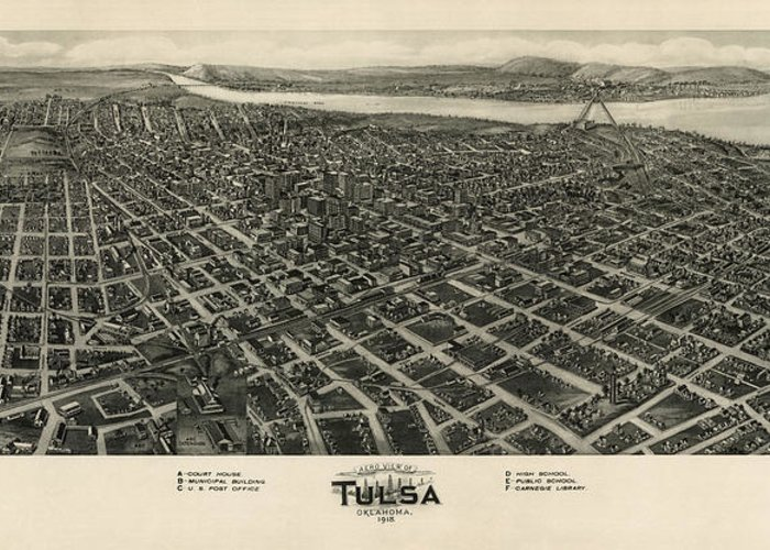 Tulsa Greeting Card featuring the drawing Antique Map Of Tulsa Oklahoma By Fowler And Kelly - 1918 by Blue Monocle