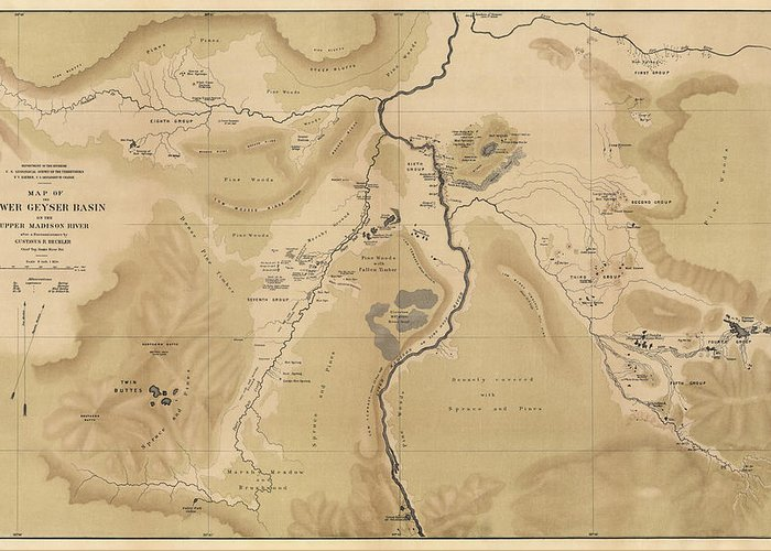 Antique Map Of Yellowstone National Park - Lower Geyser Basin - 1872  Greeting Card