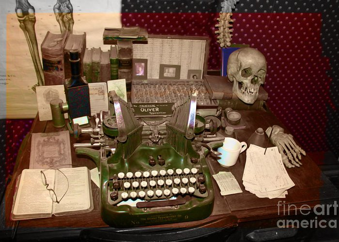 Typewriter Greeting Card featuring the photograph Antique Oliver Typewriter On Old West Physician Desk by Janice Rae Pariza