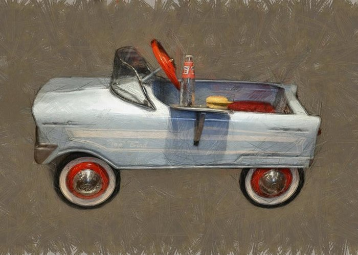 Pedal Car Greeting Card featuring the photograph Antique Pedal Car Lv by Michelle Calkins