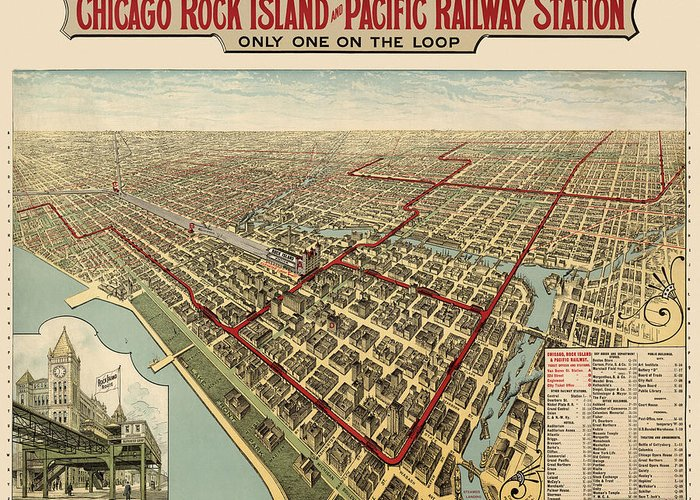 Chicago Greeting Card featuring the drawing Antique Railroad Map Of Chicago - 1897 by Blue Monocle