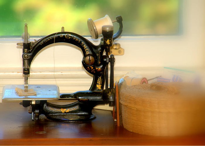 New England Greeting Card featuring the photograph Antique Sewing Machine by Caroline Stella