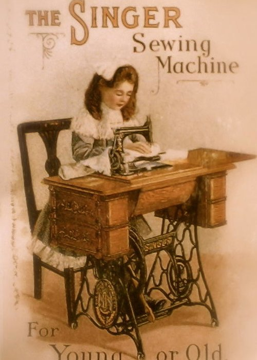 Singer Greeting Card featuring the photograph Antique Singer Sewing Machine by Julie Butterworth