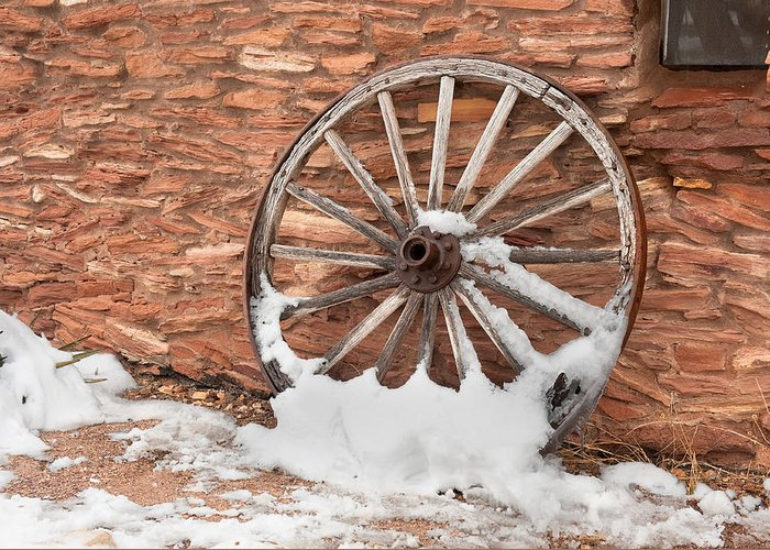 Wagon Wheel Greeting Card featuring the photograph Antique Wagon Wheel by Joe Belanger