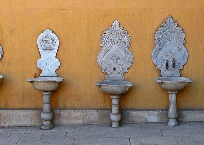 Art Greeting Card featuring the photograph Antique Wash Basins by Claudio Bacinello