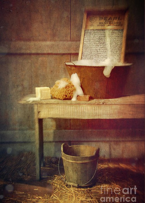 Atmosphere Greeting Card featuring the photograph Antique Wash Tub With Soaps by Sandra Cunningham