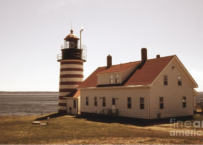 Lighthouses Greeting Card featuring the photograph Antique West Quoddy Lighthouse by Skip Willits