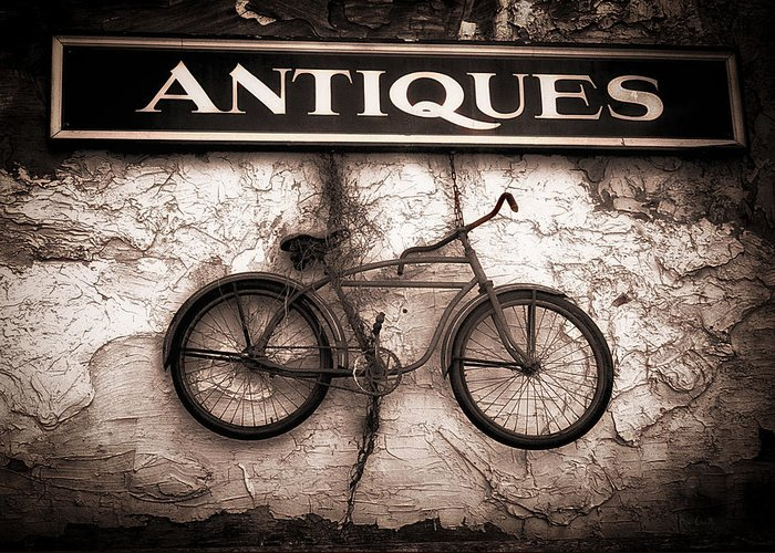 Abstract Greeting Card featuring the photograph Antiques And The Old Bike by Bob Orsillo