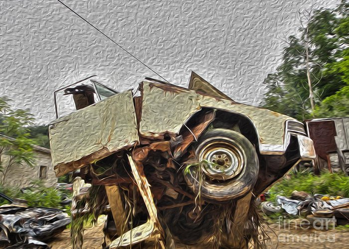 Car Greeting Card featuring the photograph Antiques Broken by Crystal Harman