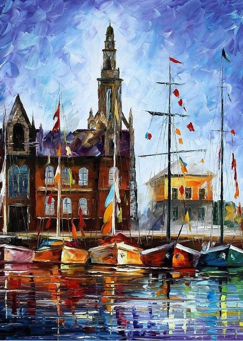 Afremov Greeting Card featuring the painting Antwerp - Belgium by Leonid Afremov