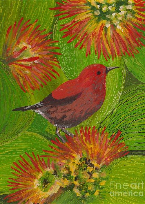 Hawaii Birds Greeting Card featuring the painting 'apapane by Anna Skaradzinska