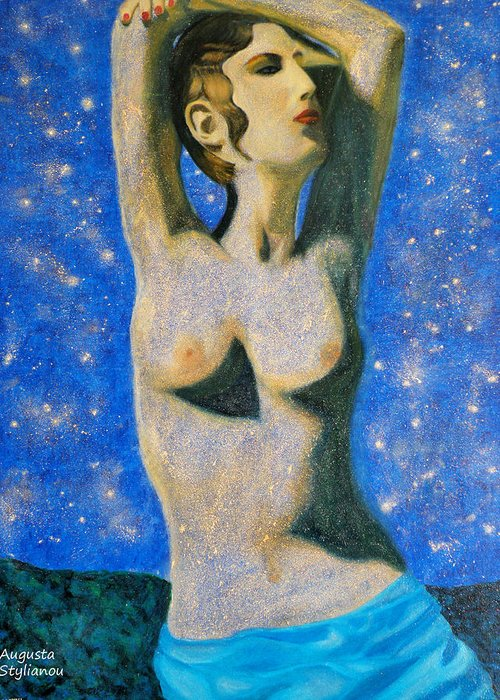 Augusta Stylianou Greeting Card featuring the painting Aphrodite by Augusta Stylianou
