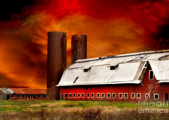 Red Barn Greeting Card featuring the photograph Apocalypse At Rolling Fork by T Lowry Wilson
