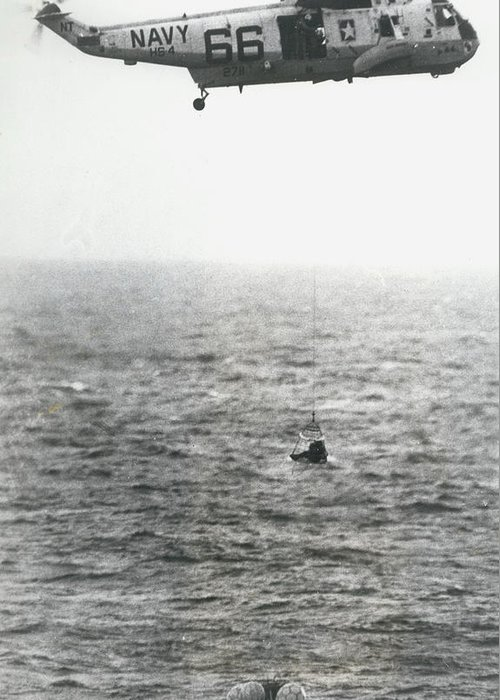 retro Images Archive Greeting Card featuring the photograph Apollo II Splashdown by Retro Images Archive