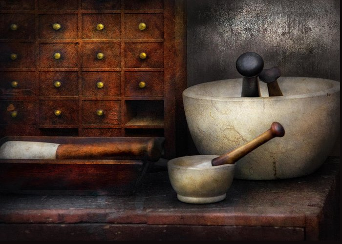 Suburbanscenes Greeting Card featuring the photograph Apothecary - Pestle And Drawers by Mike Savad