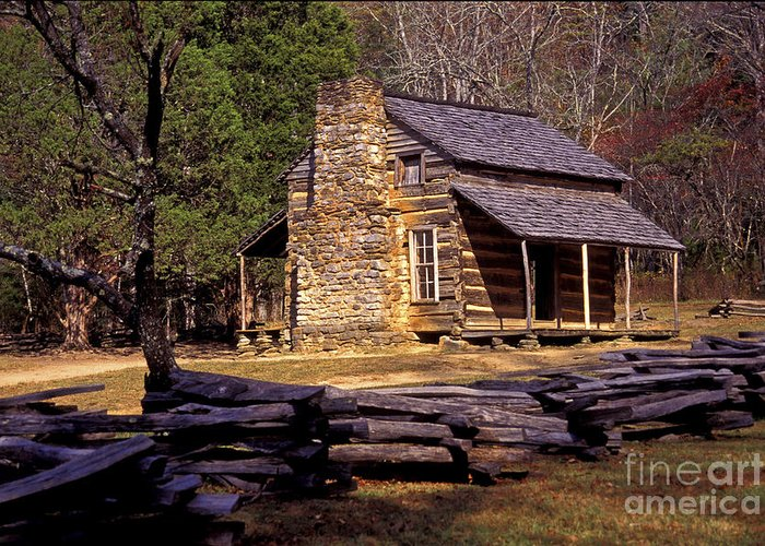 Log Cabin Greeting Card featuring the photograph Appalachian Homestead by Paul W Faust - Impressions of Light