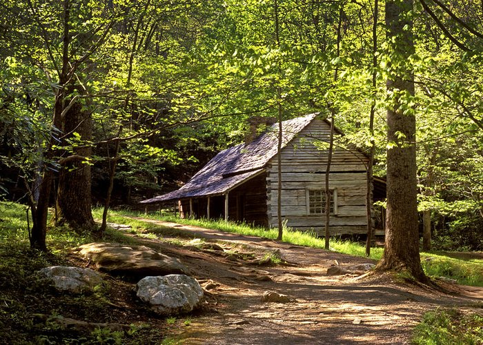 Cabin Greeting Card featuring the photograph Appalachian Mountain Log Cabin by Paul W Faust - Impressions of Light