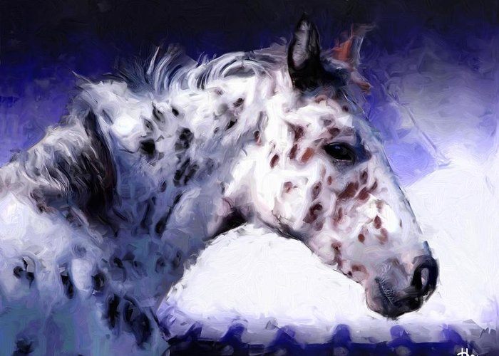 Southwest Greeting Card featuring the painting Appaloosa Pony by Roger D Hale