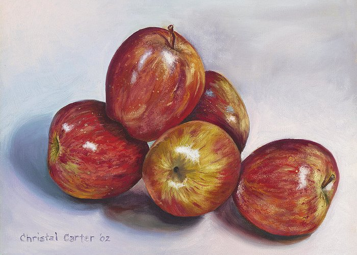 Apples Greeting Card featuring the painting Apple Assortment by Christal Carter