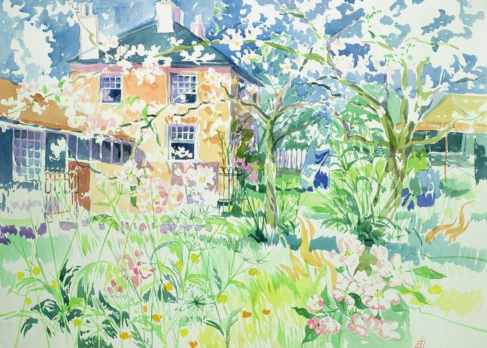House Greeting Card featuring the painting Apple Blossom Farm by Elizabeth Jane Lloyd