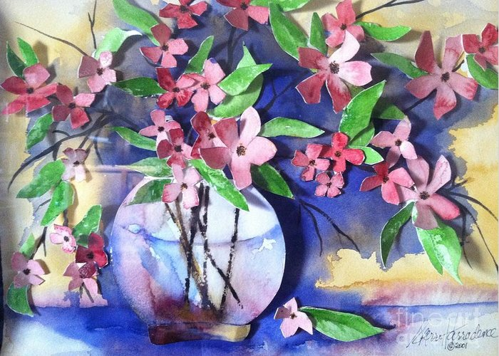 Orchards Greeting Card featuring the painting Apple Blossoms by Sherry Harradence