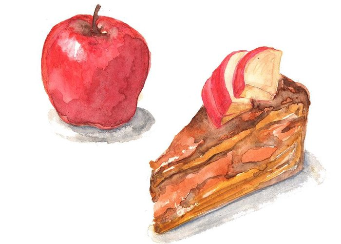 Watercolor Painting Greeting Card featuring the digital art Apple Cake by Kana hata