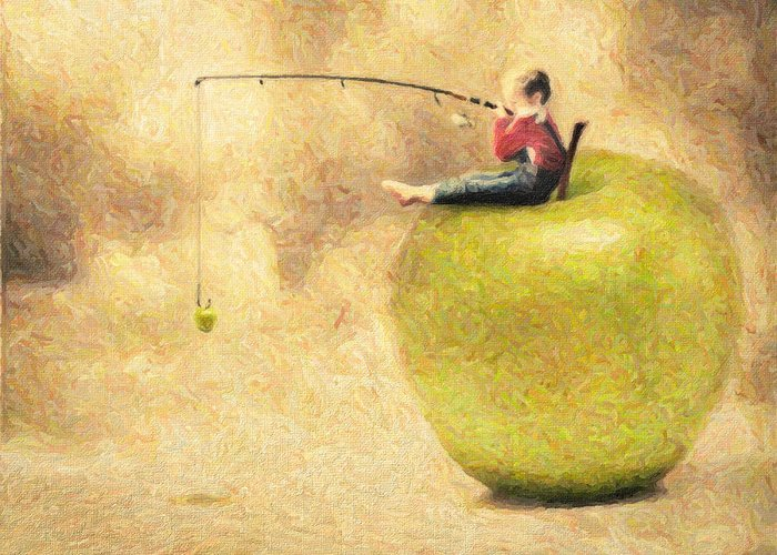 Apple Greeting Card featuring the painting Apple Dream by Taylan Apukovska
