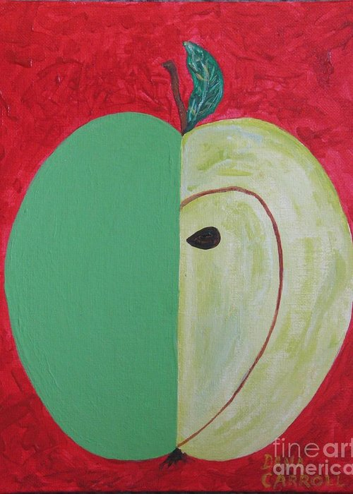 Apple Paintings Greeting Card featuring the painting Apple In Two Greens 02 by Dana Carroll