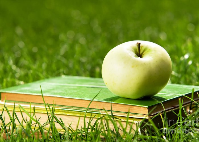 Apple Greeting Card featuring the photograph Apple On Pile Of Books On Grass by Michal Bednarek
