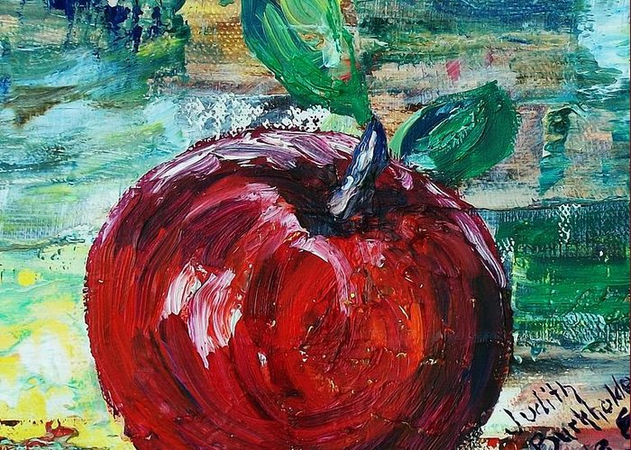 Apple Greeting Card featuring the painting Apple - SOLD by Judith Espinoza