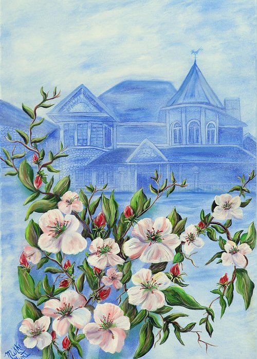 Apple Blossom Greeting Card featuring the painting Appleblossom by Mikki Alhart