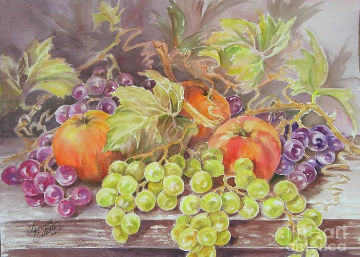 Fruit Greeting Card featuring the painting Apples And Grapes by Summer Celeste