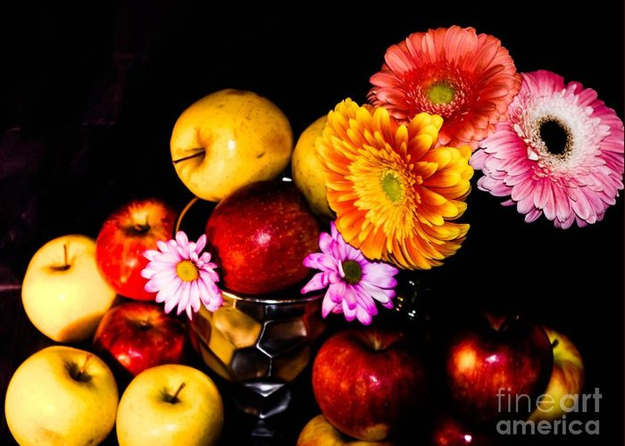 Greeting Card featuring the photograph Apples And Suflowers by Gerald Kloss