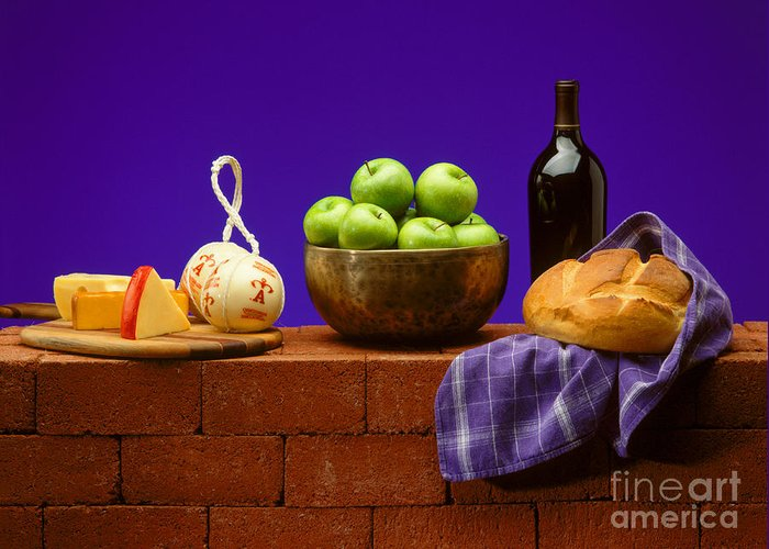 Craig Lovell Greeting Card featuring the photograph Apples Bread And Cheese by Craig Lovell