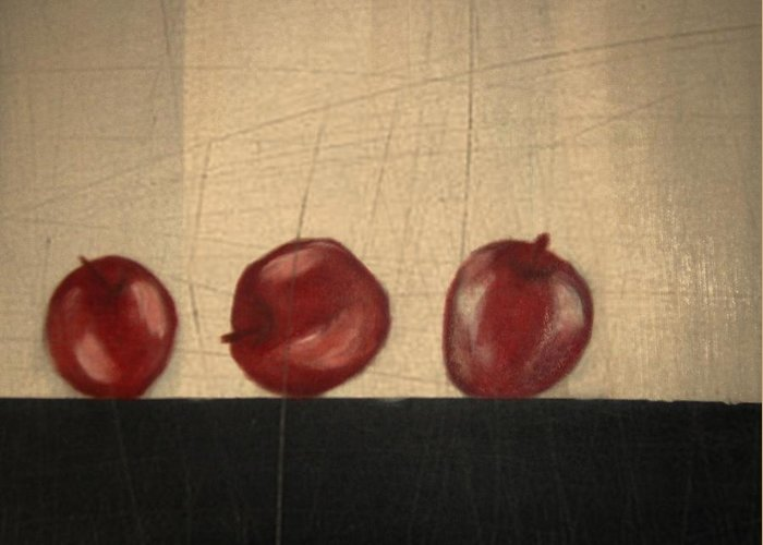 Still Life Greeting Card featuring the mixed media Apples for Gayle by Joseph Ferguson