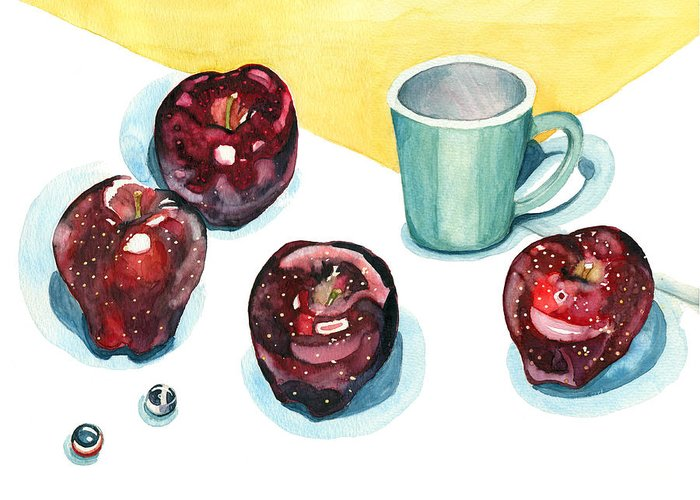Apples Greeting Card featuring the painting Apples by Katherine Miller