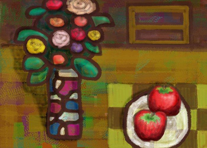 Flower Greeting Card featuring the digital art Apples by Yutaka Kobayashi