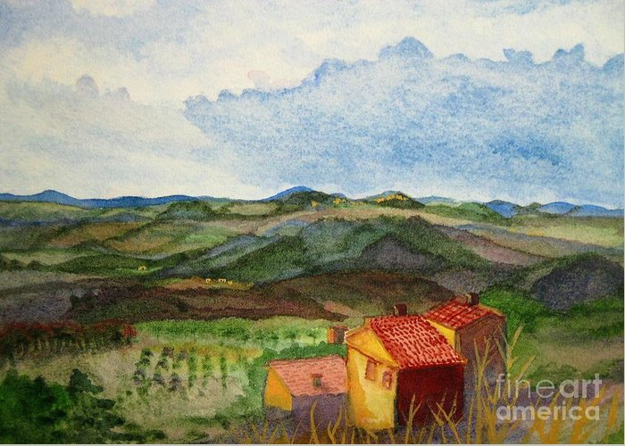Approaching Montepulciano Greeting Card featuring the painting Approaching Montepulciano by Martha Kuper Brinson
